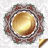 Light floral background with gold circle pattern Stock Photos