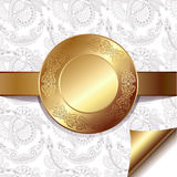 Light floral background with gold ribbon and. Circle pattern, eps 10 Royalty Free Stock Photos