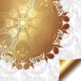 Light floral background with gold ribbon and. Circle pattern, eps 10 vector illustration