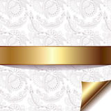 Light floral background with gold ribbon, eps 10. Light floral background with gold ribbon, vector illustration Royalty Free Stock Photos