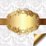 Light floral background with gold ribbon and Royalty Free Stock Photography