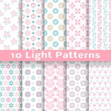 Light floral romantic vector seamless patterns. 10 Light floral romantic vector seamless patterns (tiling). Shabby chic pink and blue colors. Endless texture can stock illustration