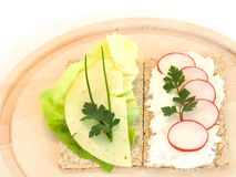 Light food. Composition of two ligh sandwiches with cheese and vegetables Stock Images
