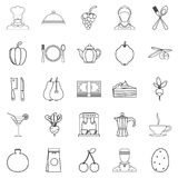 Light food icons set, outline style. Light food icons set. Outline set of 25 light food vector icons for web isolated on white background Royalty Free Stock Images