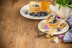 Light fresh crunchy pastry tartlet of blueberries Royalty Free Stock Photos