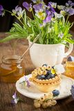 Light fresh crunchy pastry tartlet of blueberries Royalty Free Stock Photo