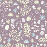 Light fresh seamless pattern with birds, leaves, flowers Stock Photography