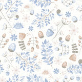 Light fresh seamless pattern with birds, leaves, flowers Stock Image