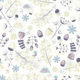 Light fresh seamless pattern with birds, leaves, flowers Royalty Free Stock Photography