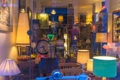 Light and furniture shop stock photography
