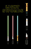 Light future swords set. Laser green, blue and red weapon from galaxy Royalty Free Stock Image