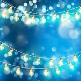 Light garlands blue bokeh background. EPS 10 vector. Light garlands blue bokeh background. Christmas lights. And also includes EPS 10 vector Stock Photos