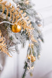 Light from the garlands. Christmas tree decorated ball close-up. Royalty Free Stock Photography