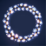 Light garlands on dark background. Christmas lights. Vector illustration Royalty Free Stock Photography