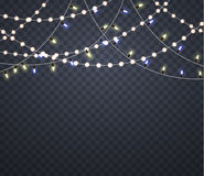 Light garlands. glowing lights on Christmas. stock illustration