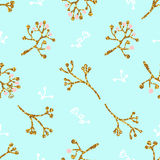 Light and gentle seamless pattern with golden flowers and leafs. Royalty Free Stock Photos