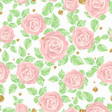 Light and gentle seamless pattern with roses and golden splashes. Royalty Free Stock Photos