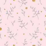 Light and gentle seamless pattern with roses and golden splashes. Stock Photo