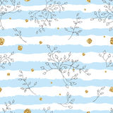 Light and gentle seamless pattern with roses and golden splashes. Stock Images