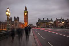 Light Ghost Trails on Westminster Bridge with Big Ben Stock Image