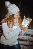 Light the gift for the winter holidays Stock Photography