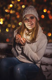 Light the gift for the winter holidays Stock Image
