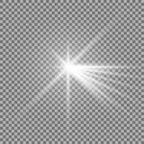 Light with a glare. On transparent background, sun rays with transparency, beams, lens flare, white color Stock Photos