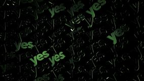 Light glares on the letters of the word YES, positvity concept. Animation. Green rows of capital letters moving. Light glares on the letters of the word YES vector illustration