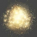Light gleaming effect. Soft realistic fireworks with glitter splatter elements. Shining circles bokeh particles outburst stock illustration