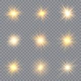 Light glow effect stars. Vector sparkles on transparent background. Christmas abstract pattern. Sparkling magic dust particles. royalty free illustration