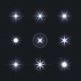 Light Glow Flare Stars Effect Set. vector illustration