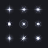Light Glow Flare Stars Effect Set. Stock Photography