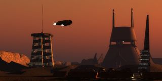 Martian Colonist Complex. Light glows from a colony complex on the planet Mars as a spaceship comes in for a landing from Earth royalty free stock photo