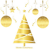 Light gold christmas tree card with snowflake ball and star Stock Photo