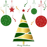 Light gold green red christmas tree card with snowflake ball and Royalty Free Stock Photo