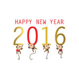 Light gold red happy new year 2016. With monkey Stock Image