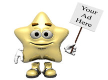 Light Gold Star Sign. A smiling light gold star emoticon holding a sign just right for your ad.  Computer Generated Image, 3D models Royalty Free Stock Image