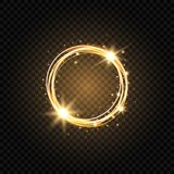 Light golden circle banner. Abstract light background. Glowing gold circle frame with sparkles and stars. Glowing magic. Flare fire ring trace. Glitter sparkle royalty free illustration