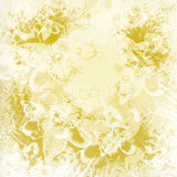 Light golden watercolor brush strokes. With floral ornamental background stock illustration