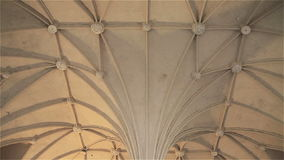 Light Gothic ceiling in the castle Malbork in Poland.  stock video footage