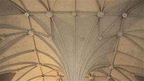 Light Gothic ceiling in the castle Malbork in Poland.  stock video
