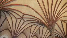 Light Gothic ceiling in the castle Malbork in Poland.  stock footage
