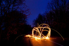 Light graffiti. On a road stock photos