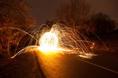 Light graffiti. On a road stock photography