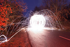 Light graffiti. On a road stock image
