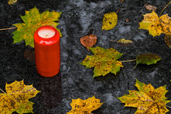 Light grave on All Saints Day Stock Photo