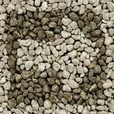 Light gravel arrow and frame. Arrow and frame from light gravel on dark gravel background Royalty Free Stock Photography