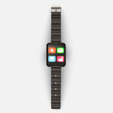 On a light gray background shows the smart clock with icons and Royalty Free Stock Photography