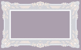 Light Gray Baroque Frame. On purple Background Vector Illustration Royalty Free Stock Images