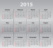 Light gray calendar grid for 2015 Royalty Free Stock Image